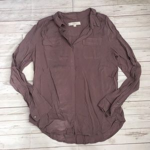 loft womens m mauve button down blouse career autu